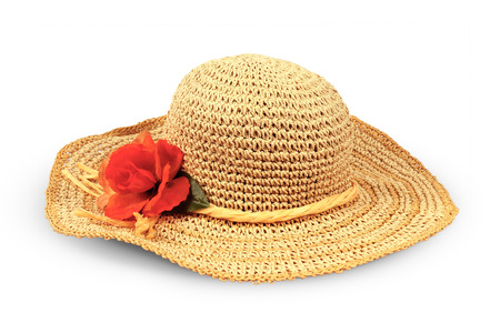 Pretty straw hat with flower on white background photo