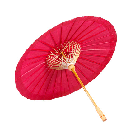 Red umbrella handmade on white background photo