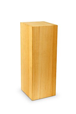 Blocco di legno su sfondo bianco