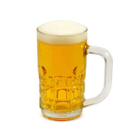 single beer: beer foam glass isolated on white background