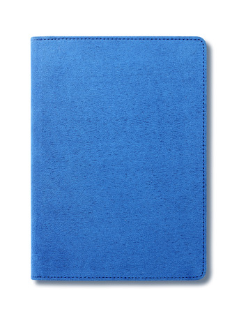 Blue velvet notebook isolated on white background photo