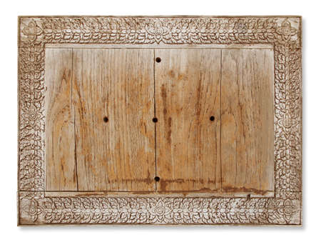 home accents: Vintage wooden frame isolated on white background Stock Photo