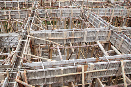 construction house, reinforcement wooden framework for concrete pouring photo