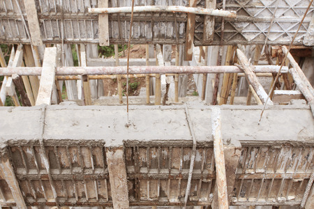 construction house, reinforcement wooden framework for concrete pouring photo