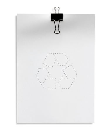 white paper A4  with recycle symbol isolated on white background photo