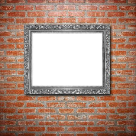 cadre antique: Antique frame sur le mur de briques de base Banque d'images