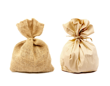 Sacks bag and paper bag isolated on white background. photo