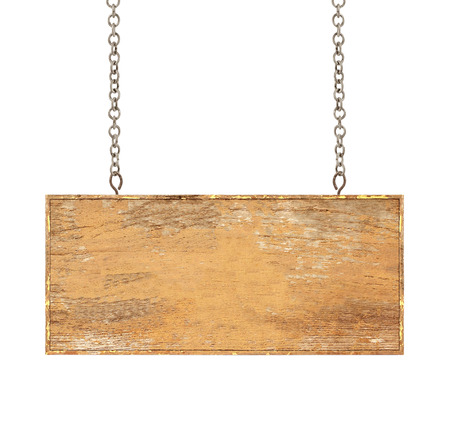 wood plaque: Wood sign from a chain isolated on white