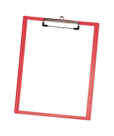 Blank clipboard notepad isolated on white. photo