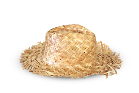 Old woven Hat on white background photo