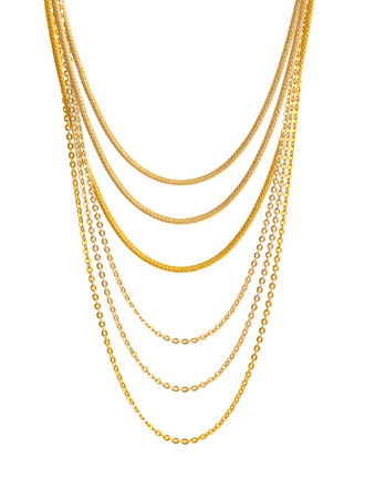 costume jewelry: Gold Chain Jewelry. Isolated on White Background. Stock Photo