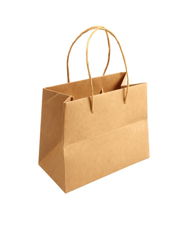 paper Bag  Isolated on White Background. photo