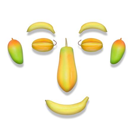 Fake fruit face isolated over white background photo