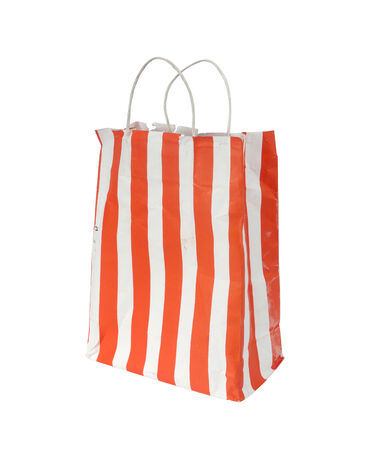 shabby and old shopping bag isolated on white background photo
