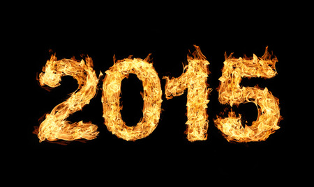 2015 year text made of flames photo