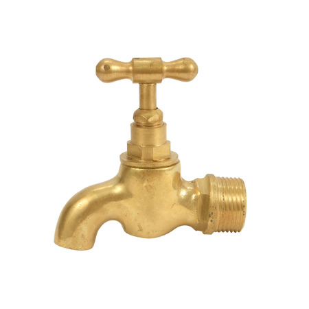 brass faucet isolated on white background photo