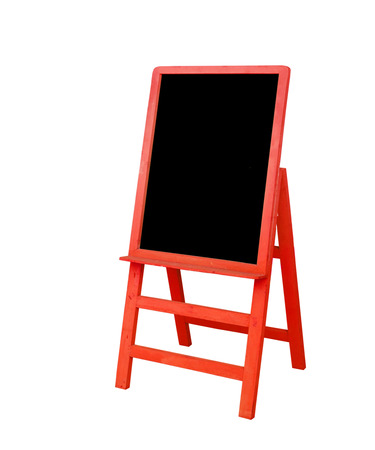 red frame black board is on white background photo
