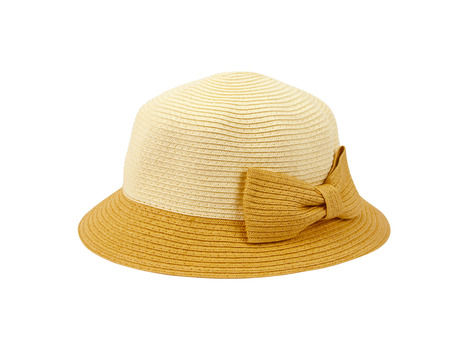 headgear: straw hat for ladies on a white background Stock Photo