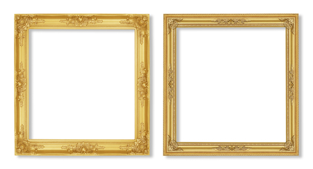 gold frame: The antique gold frame on the white  Stock Photo