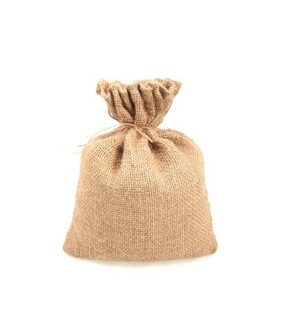Hessian sack isolated on white background photo