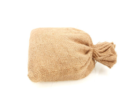 Hessian sack isolated on white background photo