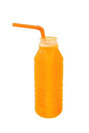 Orange juice in plastic bottle with a straw on white background Stok Fotoğraf