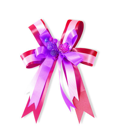 Decorative red & violet color ribbon bow on white background photo