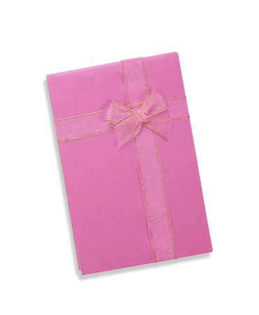 Notebook With Natural Linen Cover for souvenir on white background photo