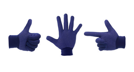 Hand glove shows signal symbol. Isolated on a white background photo