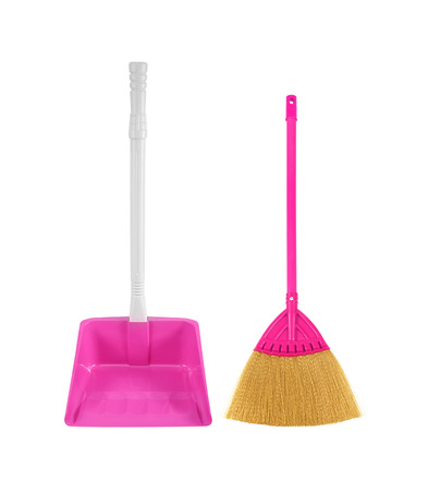 dustpan: dustpan with broom isolated on white background