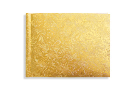 hardcover book: golden cover hardcover book on white