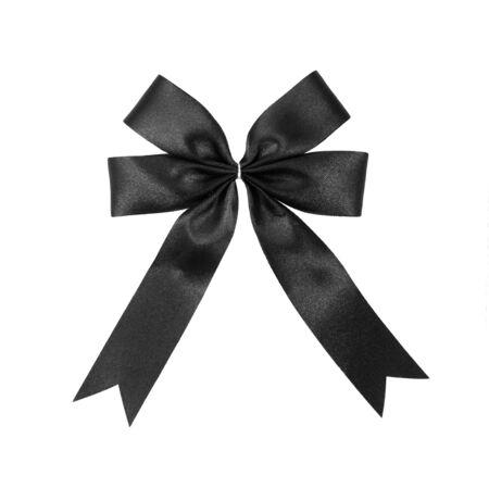 black satin: cinta de raso negro arco aislado en blanco Foto de archivo