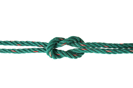 tied: Green rope tied the knot Stock Photo