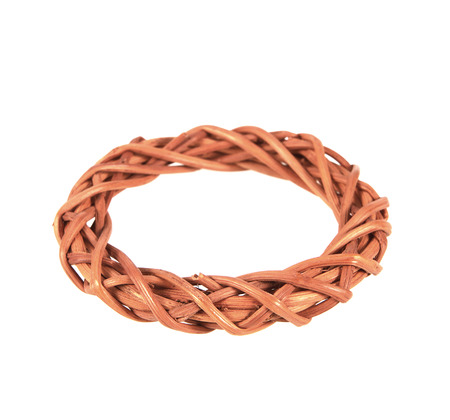 wristband: wristband made from woven rattan on a white background.