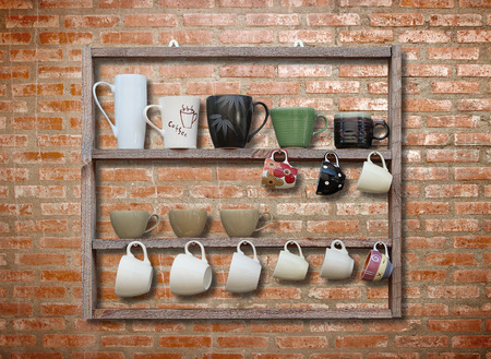 many coffee cup on wood shelf background photo