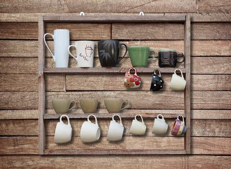 shelf: many coffee cup on wood shelf background
