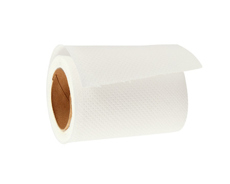Roll of white toilet paper isolated on white photo
