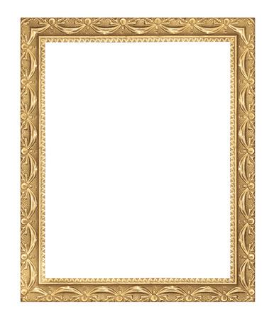 白い背景の上のアンティーク ゴールド フレーム