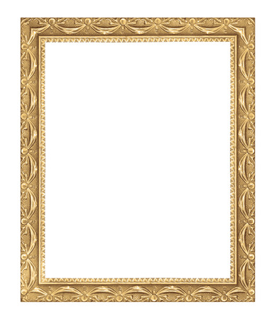 gold picture frame: The antique gold frame on the white background