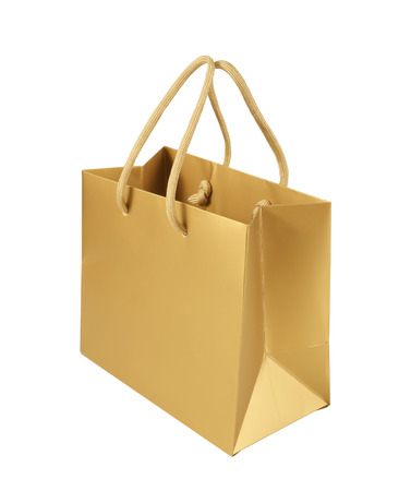 gift bag: Paper shopping bag on white background Stock Photo