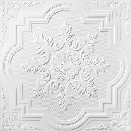 Patterns on the ceiling gypsum sheets of white flowers.