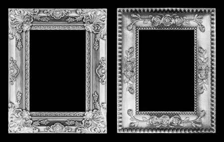 cadre antique: Le cadre antique isol� sur noir Banque d'images