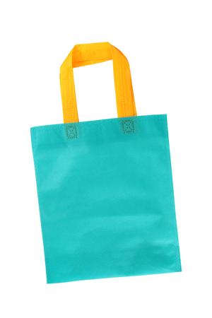 Synthetic fabric bag isolated on white background photo