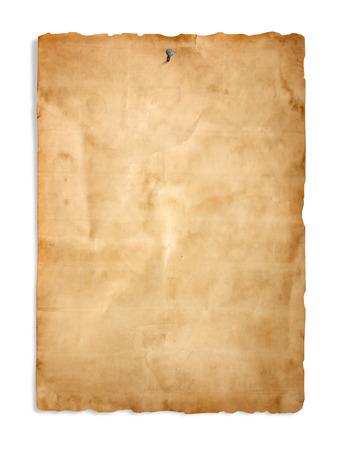 Oud papier op de witte achtergrond Stockfoto