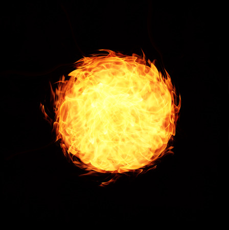 abstract ball fire flames on black background