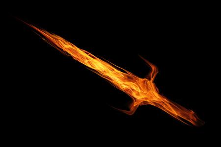 espadas medievales: espada de llama de fuego aislado en negro