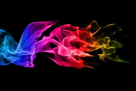 abstract colorful Fire flames on black background photo