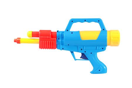 watergun: Plastic water gun toy isolated over white