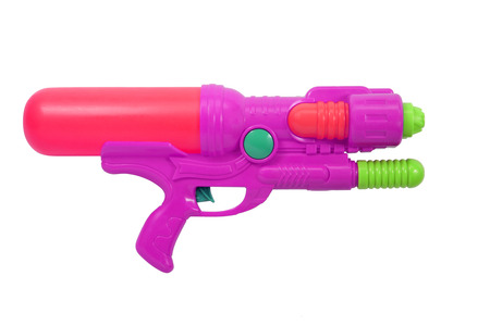 watergun: Plastic water gun isolated on white