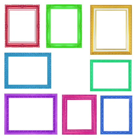 The collection colorful frames on the white background photo